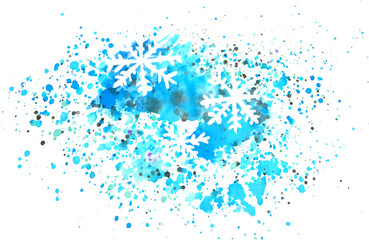 Abstract snowflakes and splashes of watercolor on white background