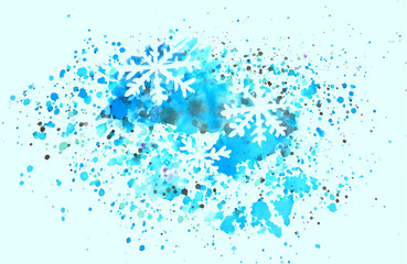Abstract snowflakes and splashes of watercolor on blue background