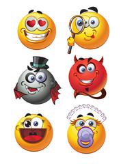set of round smiles emotions