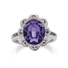 Tanzanite Gemstone and Marcasite Fashion Ring in Silver