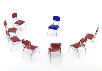 Set of red chairs and one blue, isolated on white background. Th