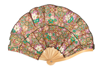 Traditional fan, colorful fan, isolated on white