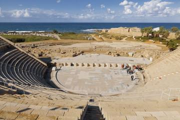 Roman amphitheater in the national park Caesarea on the Mediterranean coast of Israel