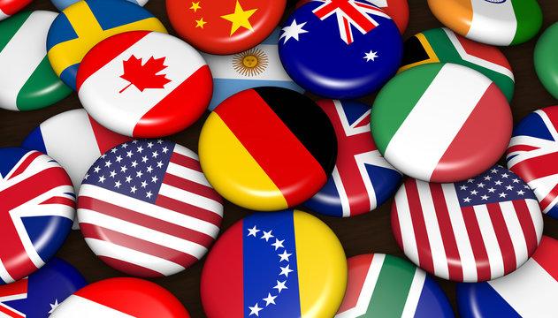 International World Flags On Badges
