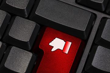 keyboard with dislike symbol