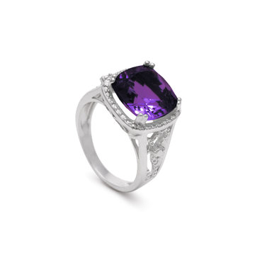 Cushion Cut Amethyst Ring in Silver