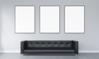 Three frames over a sofa