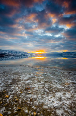 Sunset On Lake Okanagan in Winter