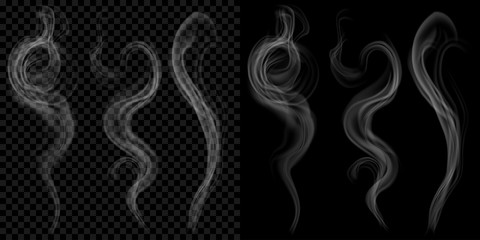 Set of translucent gray smoke on transparent and black background. Transparency only in vector format