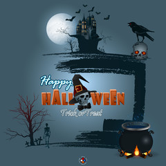 Halloween, holidays, template with scary skull carrying a crow on top, witches cauldron and Halloween text with skull wearing black wizard hat and bow tie, skeleton in cemetery on brush texture