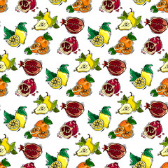 Hand-drawn illustrations. Postcard assortment fruit, pomegranate, lemon, pear, orange. Seamless pattern.
