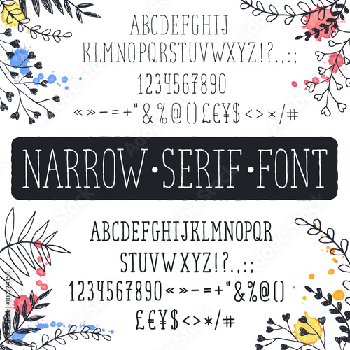 Hand Drawn Narrow Alphabet Uppercase Tall And Thin Letters Symbols Isolated On White Background
