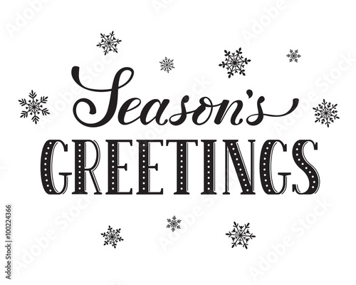 seasons greetings postcard template modern new year lettering with