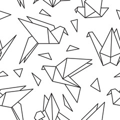 Seamless pattern with origami birds. Can be used for desktop wallpaper or frame for a wall hanging or poster,for pattern fills, surface textures, web page backgrounds, textile and more.