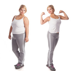 before and after weight loss. rejuvenation. beautiful fat woman isolated on white