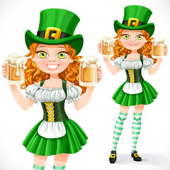 Beautiful girl leprechaun hold a two goblets of beer isolated on