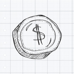 Simple doodle of a dollar