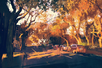 painting of city street in autumn