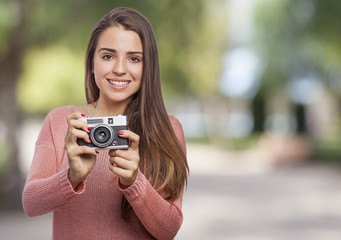 woman with a camera