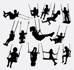 swing children male and female silhouette. Good use for symbol, logo, element, sign, mascot, or any design you want. Easy to use.