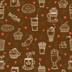 Hand drawn seamless pattern with coffee cups, donuts, coffee bea