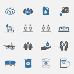 Two tone Oil icons set.