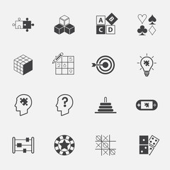puzzle and game icon set. vector. illustration