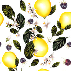 Seamless pattern with lemons leafs and flowers