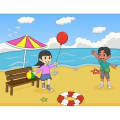 Children playing on the beach cartoon vector illustration