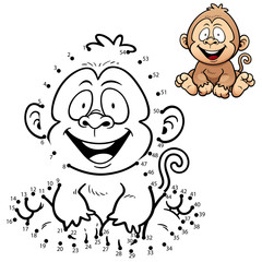 Vector Illustration of Education dot to dot game - Monkey