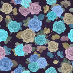 fancy seamless texture with blue roses and gray leaves