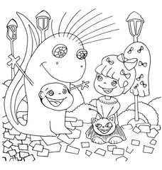 the children play outside and ride on the hill outline cartoon hand drawn isolated on the white background