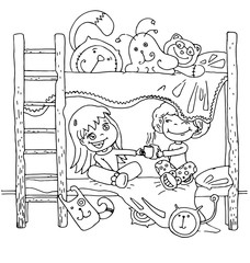 the childrens quite time on the bed in kindergarten cartoon hand drawn outline isolated on the white background
