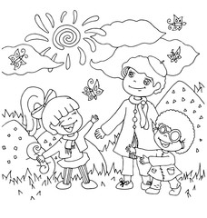 the children kindergarten with teacher cartoon hand drawn outline outdoor in summer seasons isolated on the white background