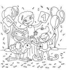 Children and teacher with swimsuit won first place in swimming cartoon hand drawn outline isolated on the white background