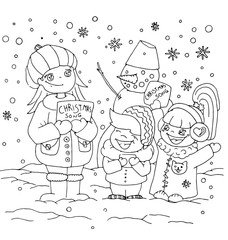 the children kindergarten with teacher cartoon hand drawn outline outdoor in winter with snowman seasons isolated on the white background