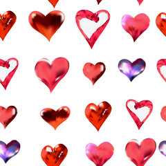seamless texture of hearts vector watercolor drawing