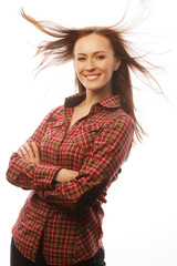 young brunette woman in shirt