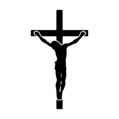 Crucifix / crucifixion of Jesus Christ flat icon for religious apps and websites
