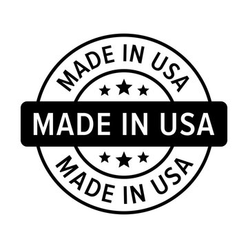 Made in the USA badge, label, seal, sign flat icon for goods and products
