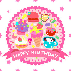 """Banner """"Happy birthday"""" with cute sweets"""