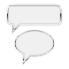Speech bubble. Square and Round Talk Bubble with metallic frame.