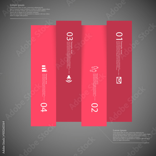 dark square template infographic vertically divided to four red