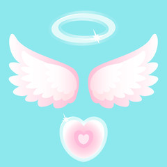 Heart with angel wings on Valentine's Day.