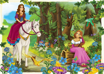 Cartoon girl riding on a white horse - princess or queen - illustration for the children