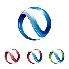 3D Circle N Modern Logo Symbol