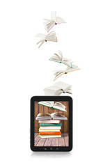 Books flying in a tablet isolated on white