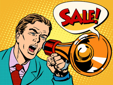 Agitator with megaphone announces sale