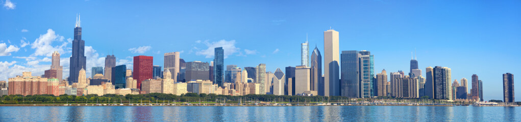 Photo sur Plexiglas Chicago Chicago skyline panorama with Lake Michigan, IL, United States