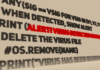 Alert. Virus detection text in computer abstract script code